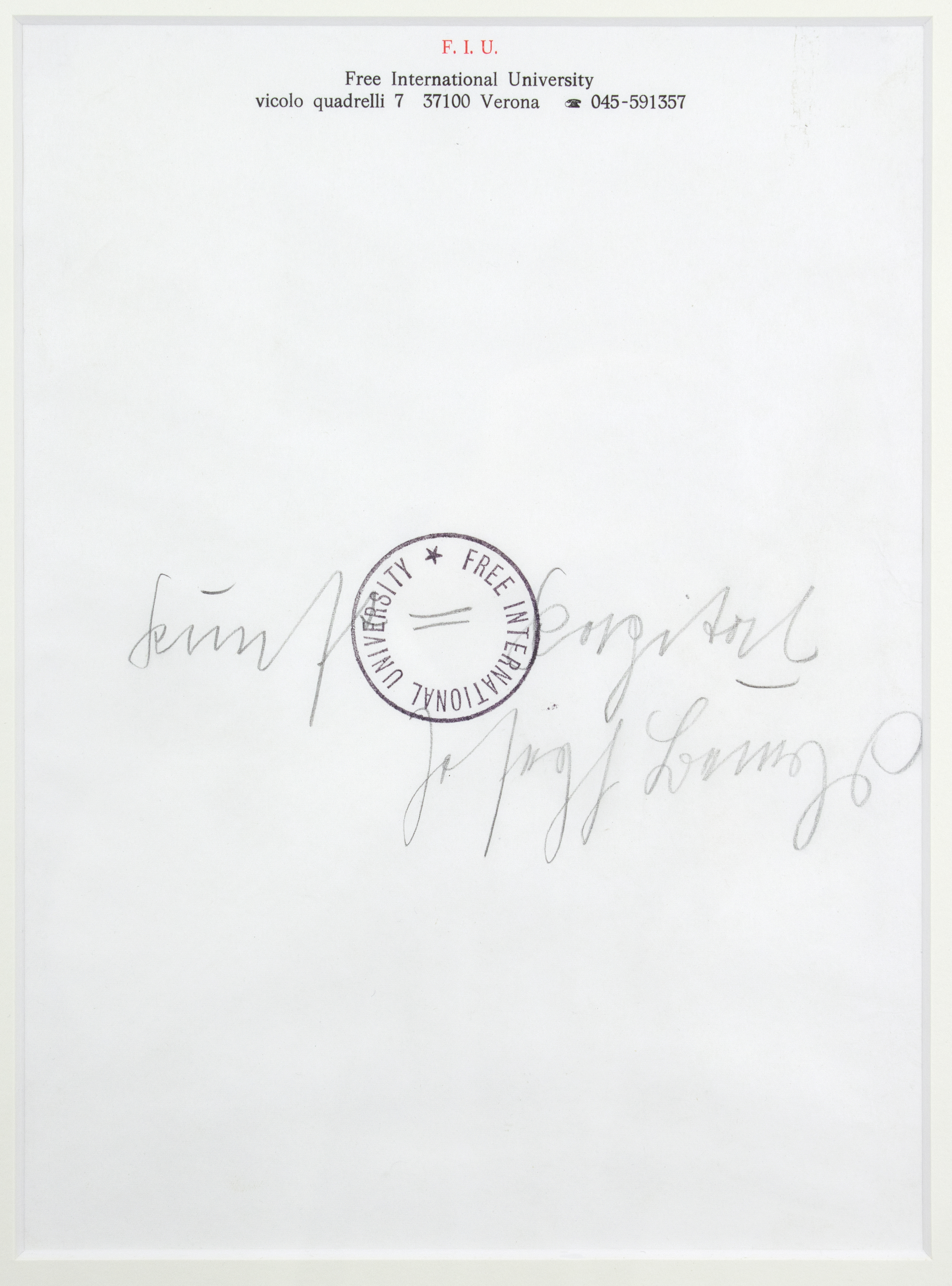 ca 1975, pencil on letter paper, 22 x 30 cm, Provenance: Collection Lucrezia de Domizio Durini Pescara