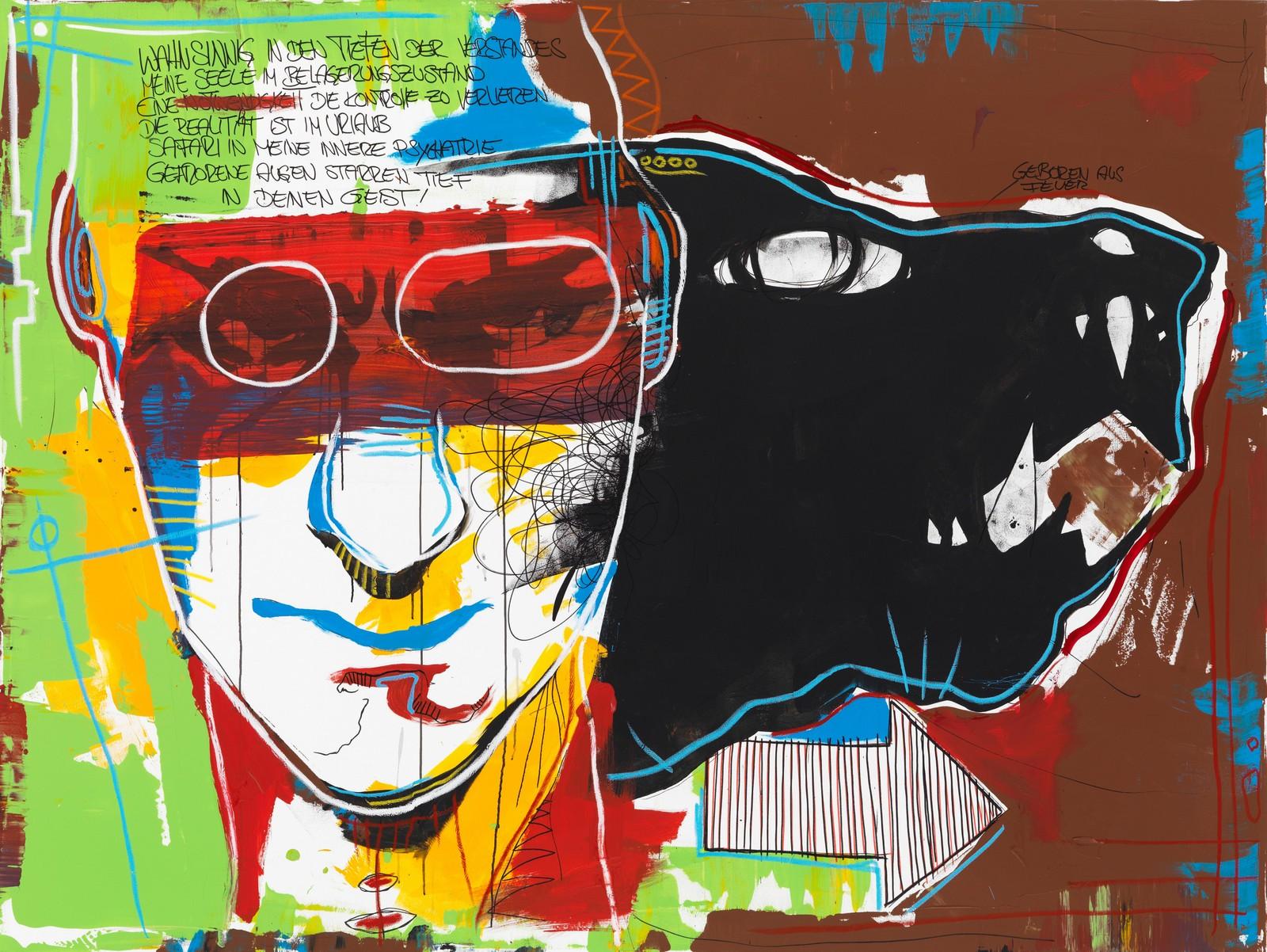2013, acrylic and chalk on canvas, 180 x 240 cm