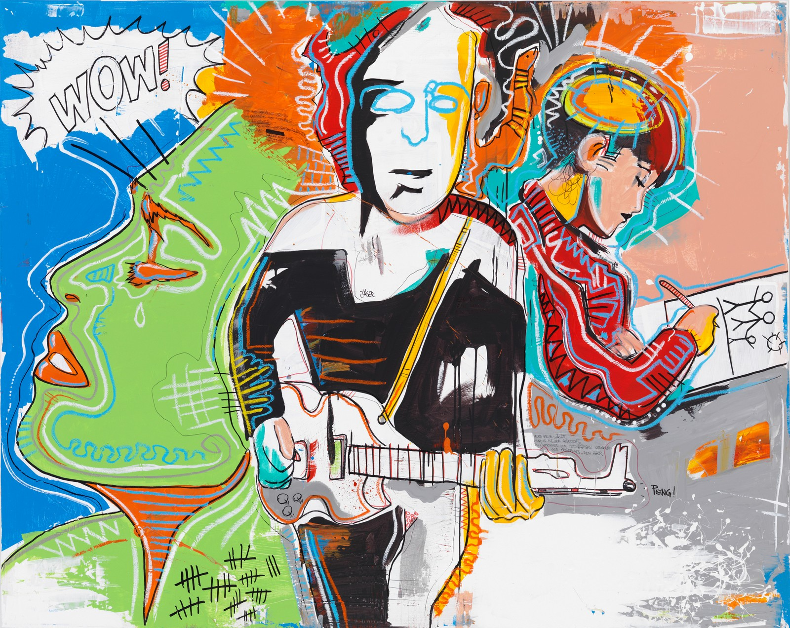 2013, acrylic and chalk on canvas, 160 x 200 cm