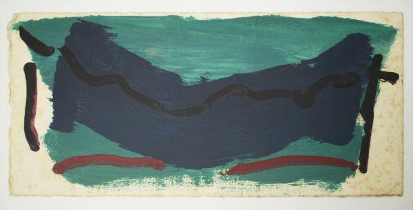 1982, acrylic on paper, postcard, unique, 29,9 x 15,5 cm